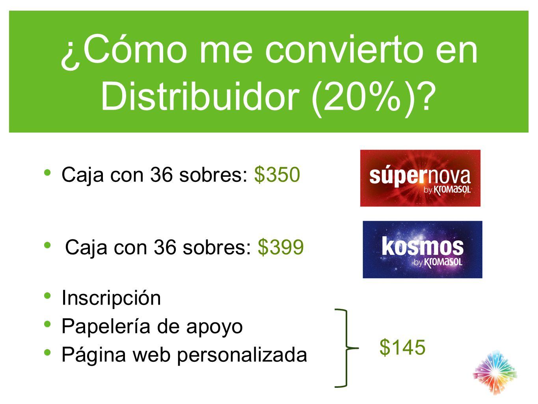 ¿Cómo me convierto en Distribuidor (20%)? Caja con 36 sobres: $350 Caja con 36 sobres: $399 Inscripción Papelería de apoyo Página web personalizada $1