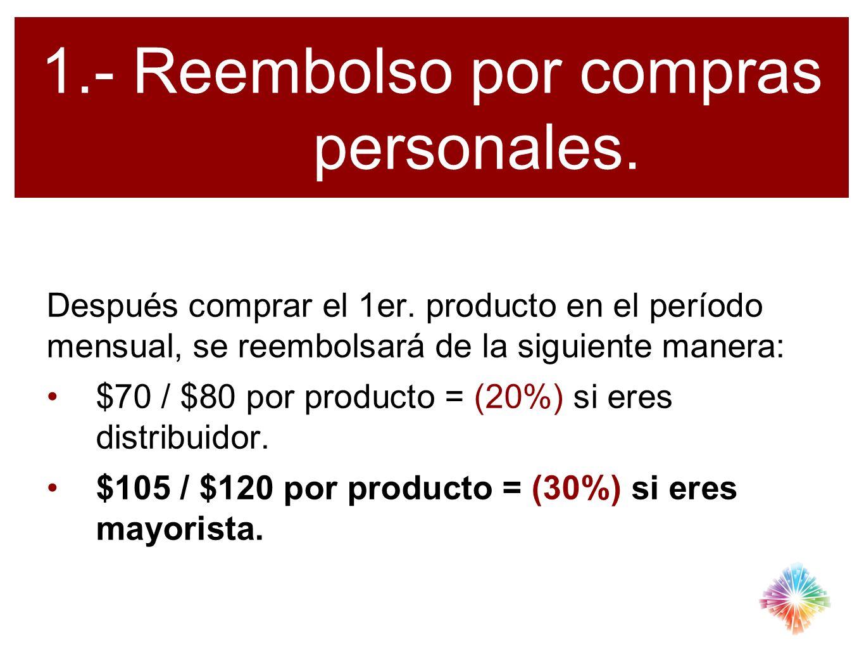 1.- Reembolso por compras personales. Después comprar el 1er. producto en el período mensual, se reembolsará de la siguiente manera: $70 / $80 por pro