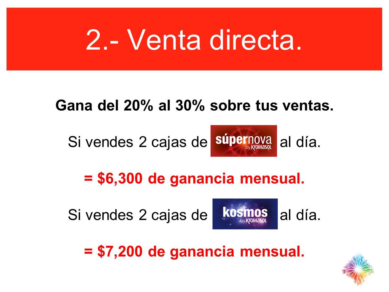 2.- Venta directa. Gana del 20% al 30% sobre tus ventas. Si vendes 2 cajas de al día. = $6,300 de ganancia mensual. Si vendes 2 cajas de al día. = $7,