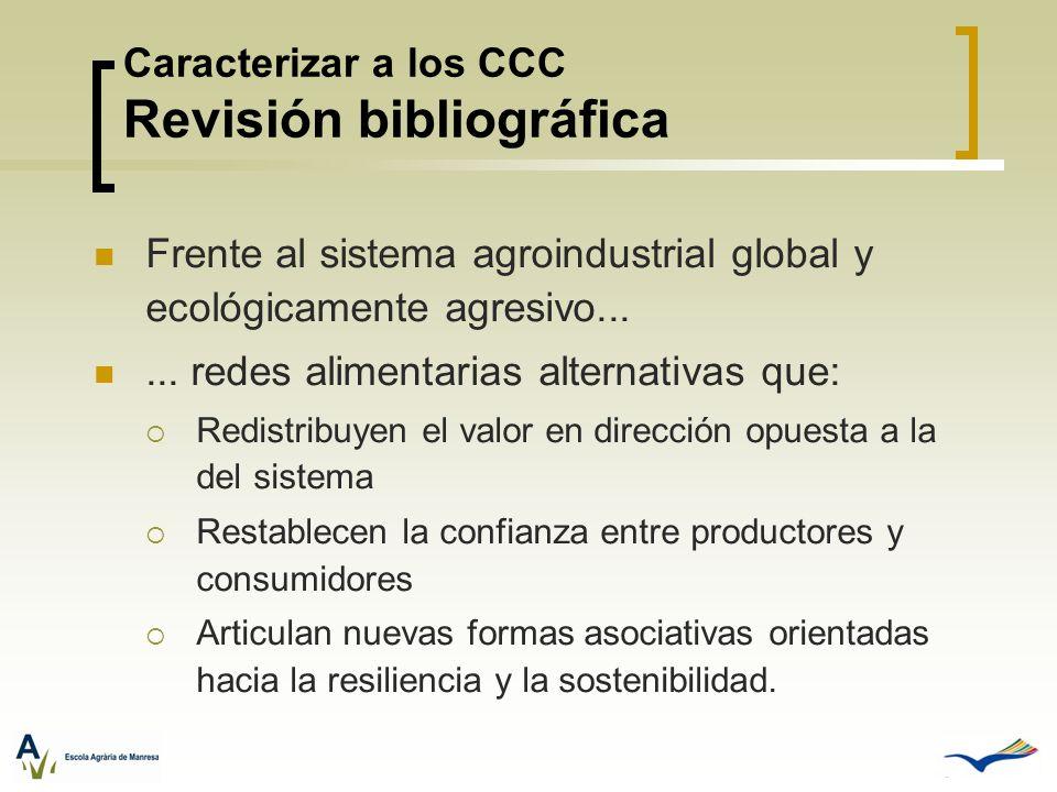 Caracterizar a los CCC Revisión bibliográfica Frente al sistema agroindustrial global y ecológicamente agresivo...... redes alimentarias alternativas