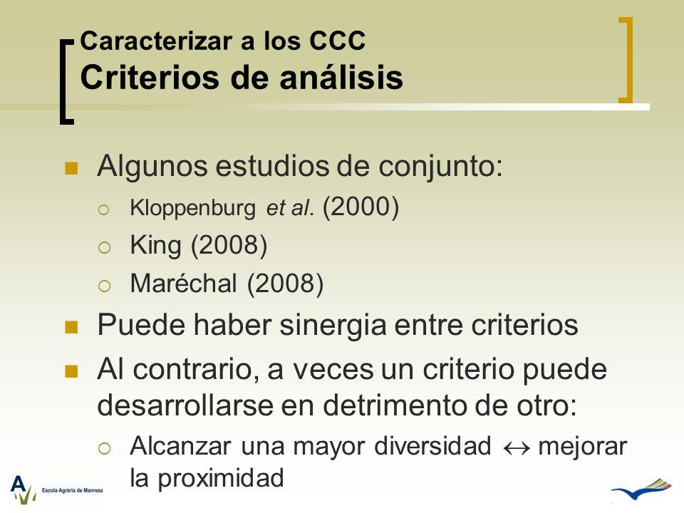 Caracterizar a los CCC Criterios de análisis Algunos estudios de conjunto: Kloppenburg et al. (2000) King (2008) Maréchal (2008) Puede haber sinergia