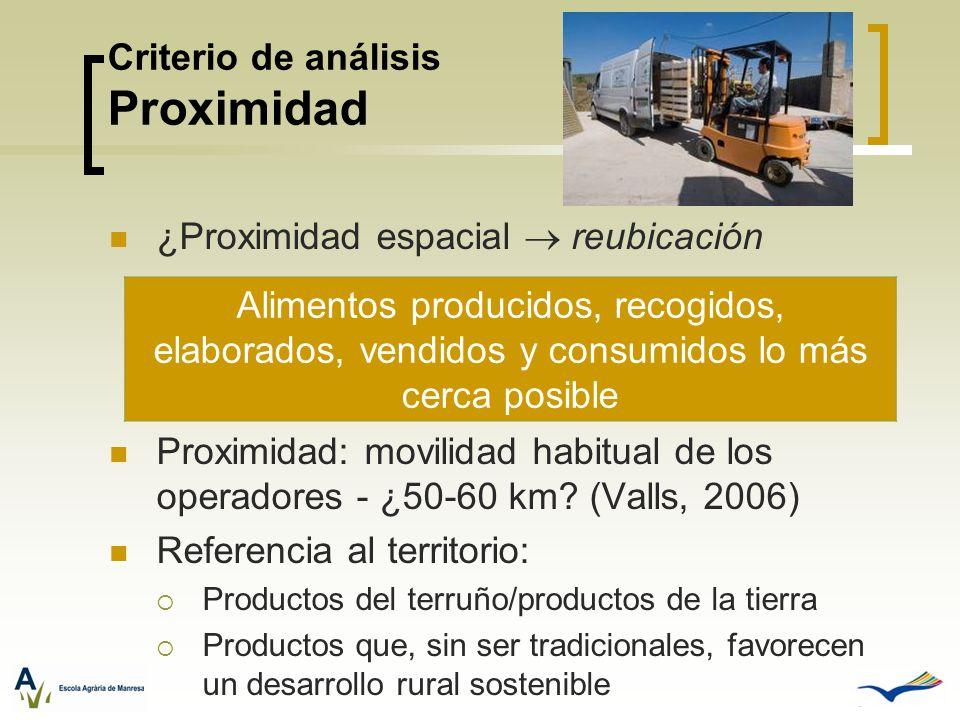 Criterio de análisis Proximidad ¿Proximidad espacial reubicación Proximidad: movilidad habitual de los operadores - ¿50-60 km? (Valls, 2006) Referenci