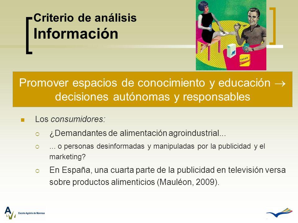 Criterio de análisis Información Los consumidores: ¿Demandantes de alimentación agroindustrial...... o personas desinformadas y manipuladas por la pub