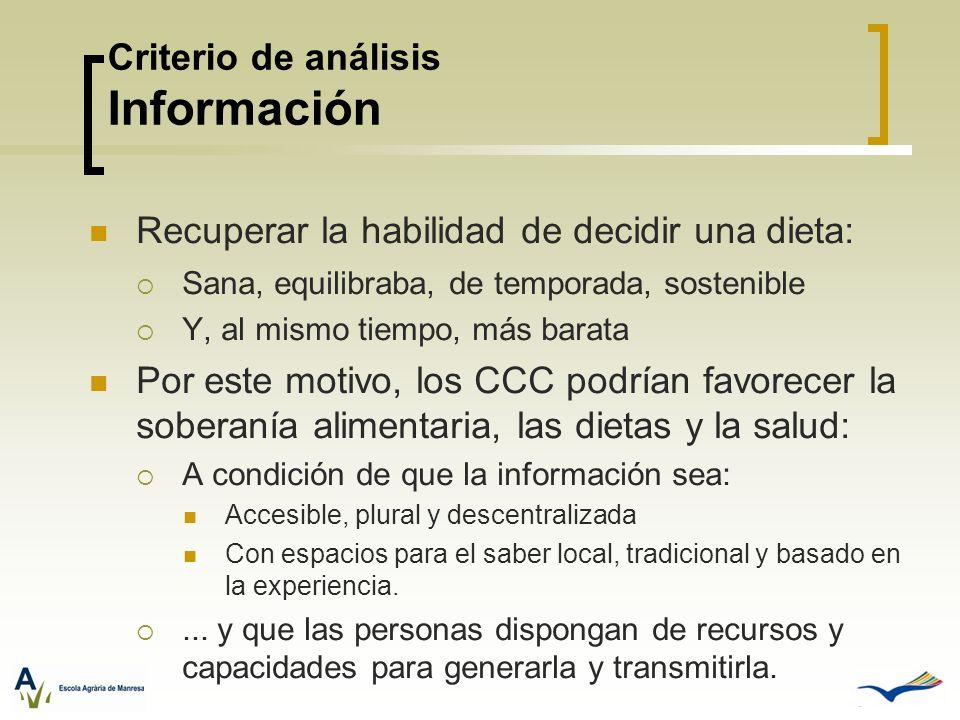 Criterio de análisis Información Recuperar la habilidad de decidir una dieta: Sana, equilibraba, de temporada, sostenible Y, al mismo tiempo, más bara