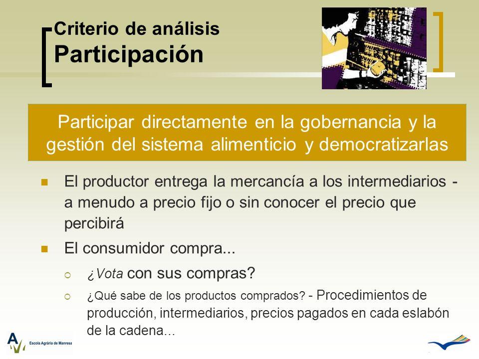 Criterio de análisis Participación El productor entrega la mercancía a los intermediarios - a menudo a precio fijo o sin conocer el precio que percibi