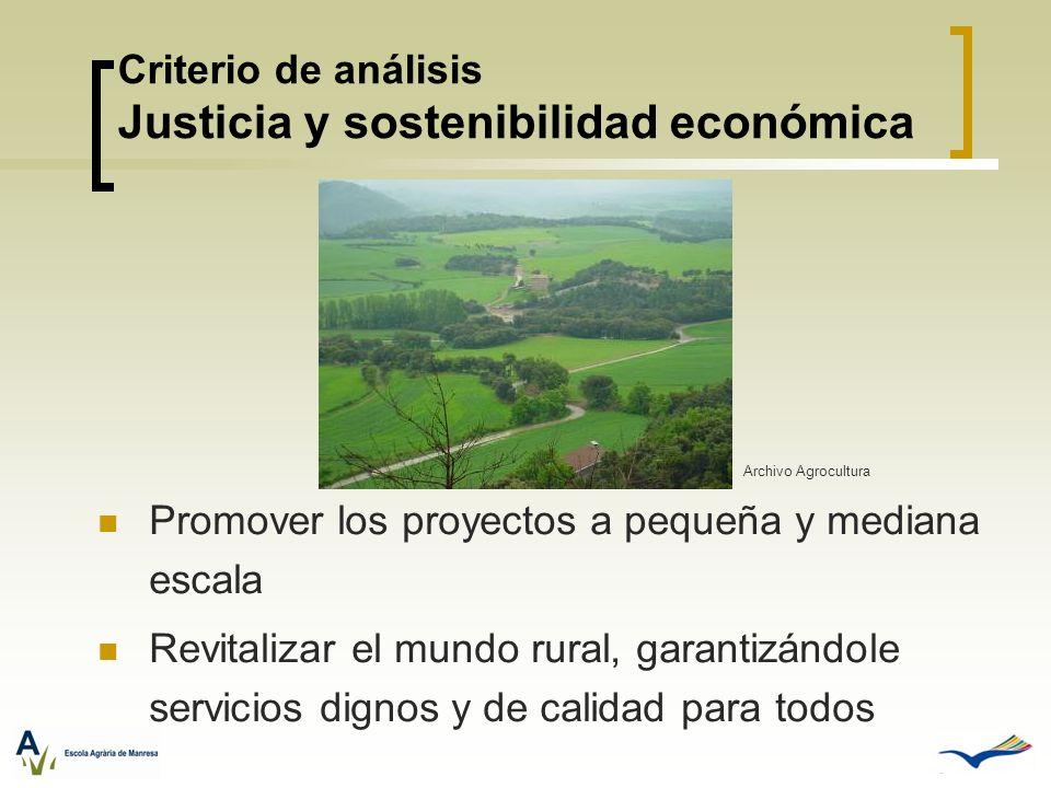 Criterio de análisis Justicia y sostenibilidad económica Promover los proyectos a pequeña y mediana escala Revitalizar el mundo rural, garantizándole