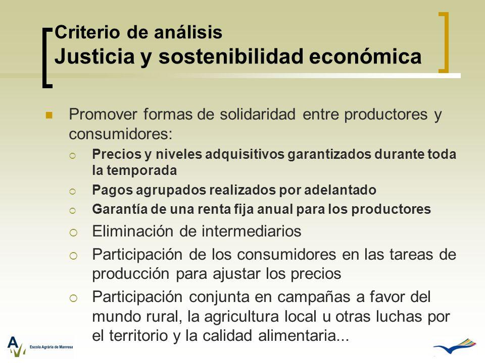 Criterio de análisis Justicia y sostenibilidad económica Promover formas de solidaridad entre productores y consumidores: Precios y niveles adquisitiv