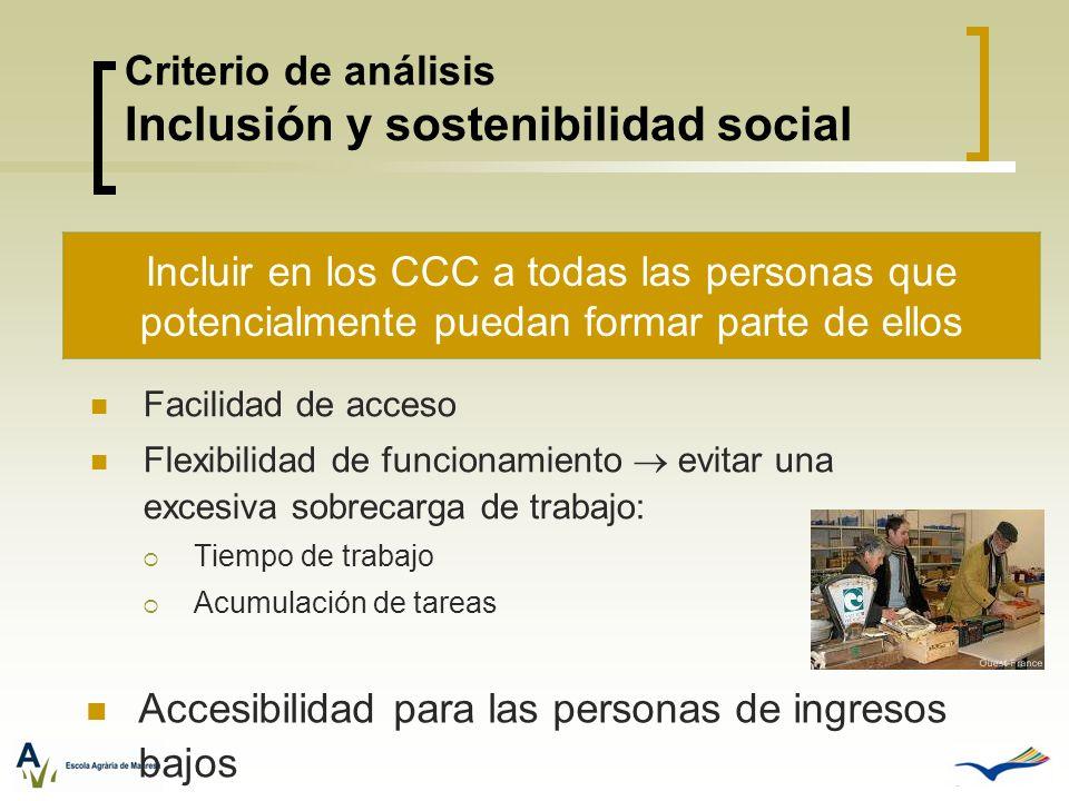 Criterio de análisis Inclusión y sostenibilidad social Facilidad de acceso Flexibilidad de funcionamiento evitar una excesiva sobrecarga de trabajo: T