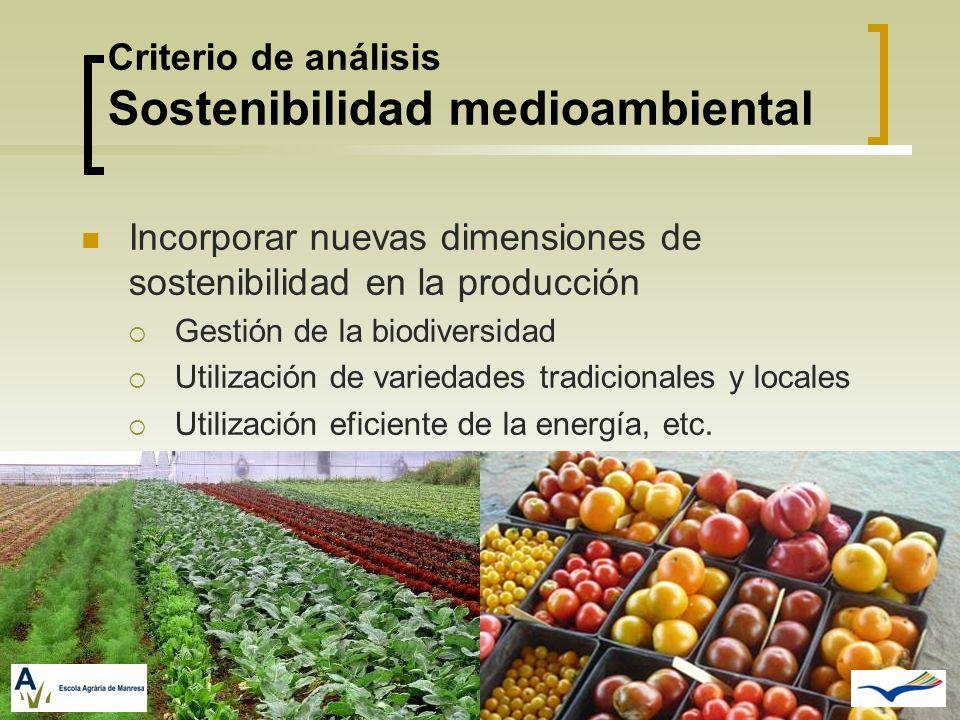 Criterio de análisis Sostenibilidad medioambiental Incorporar nuevas dimensiones de sostenibilidad en la producción Gestión de la biodiversidad Utiliz