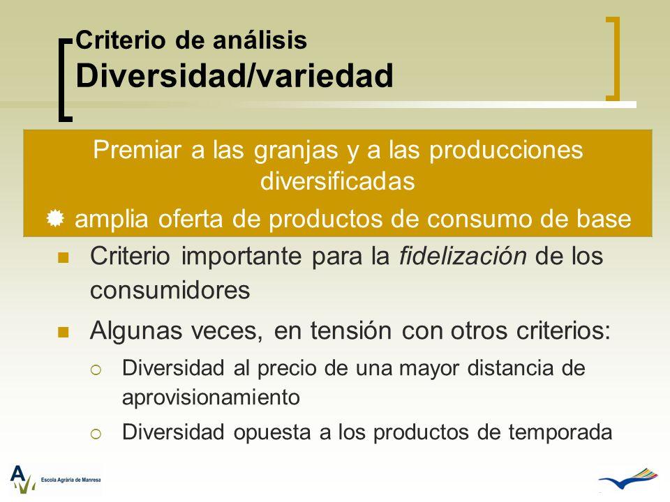 Criterio de análisis Diversidad/variedad Criterio importante para la fidelización de los consumidores Algunas veces, en tensión con otros criterios: D