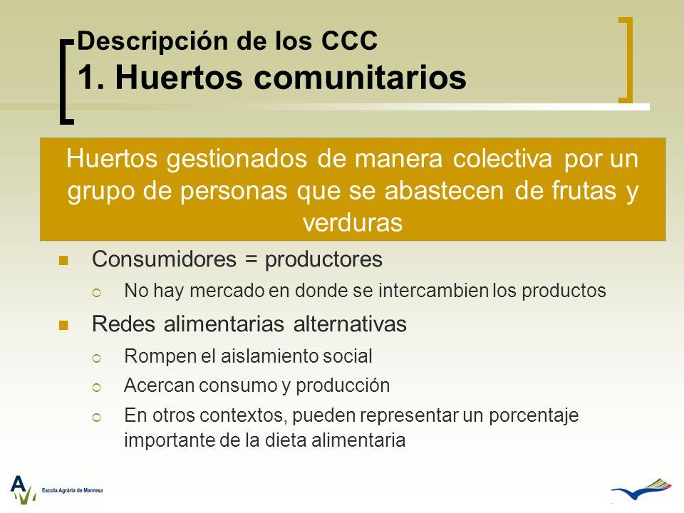 Descripción de los CCC 1. Huertos comunitarios Consumidores = productores No hay mercado en donde se intercambien los productos Redes alimentarias alt