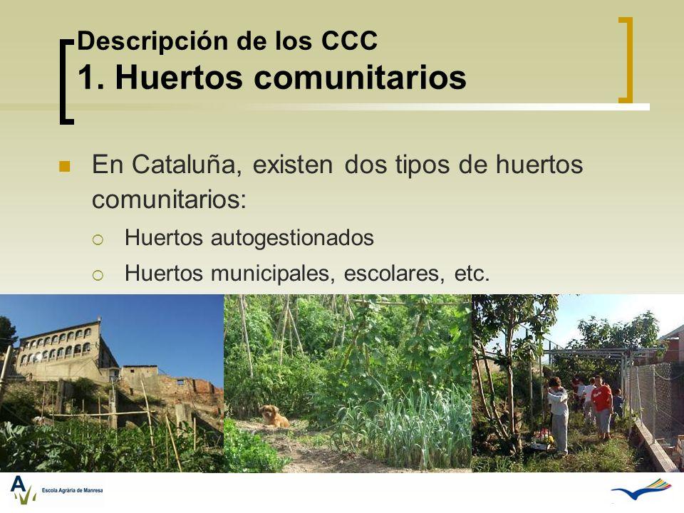 Descripción de los CCC 1. Huertos comunitarios En Cataluña, existen dos tipos de huertos comunitarios: Huertos autogestionados Huertos municipales, es