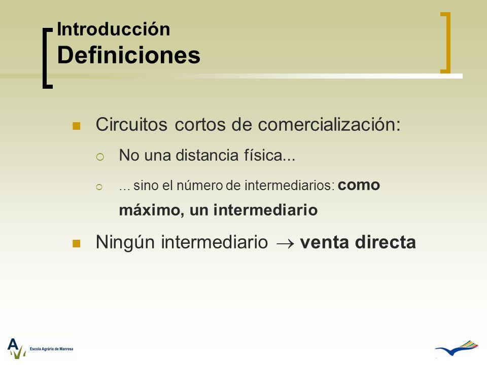 Circuitos cortos de comercialización: No una distancia física...... sino el número de intermediarios: como máximo, un intermediario Ningún intermediar