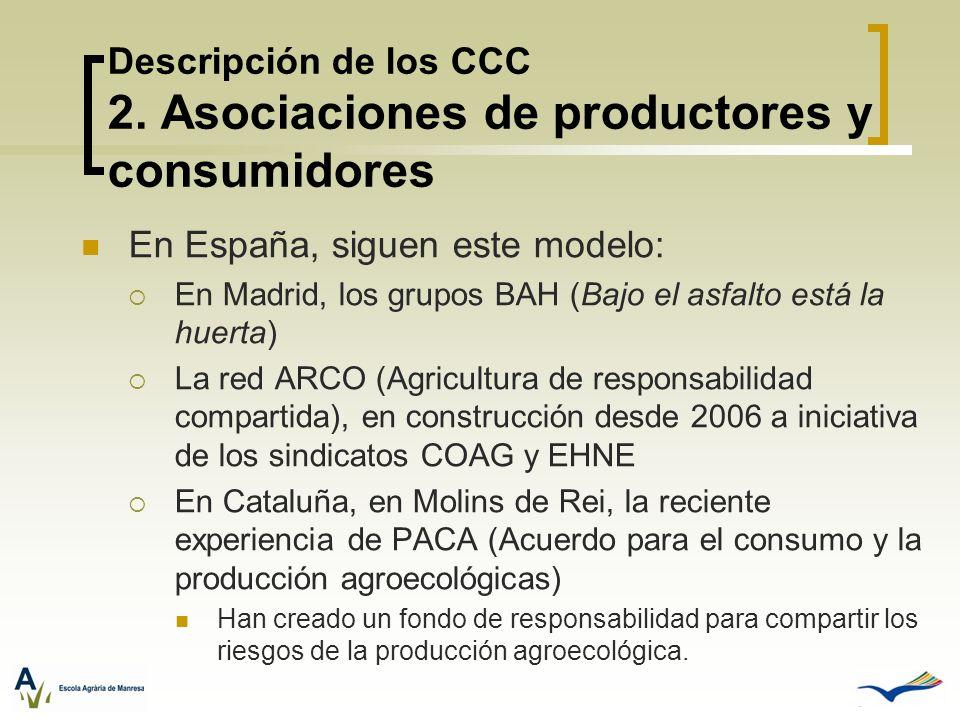 Descripción de los CCC 2. Asociaciones de productores y consumidores En España, siguen este modelo: En Madrid, los grupos BAH (Bajo el asfalto está la