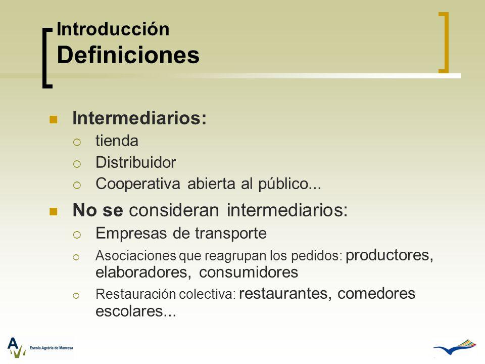 Intermediarios: tienda Distribuidor Cooperativa abierta al público... No se consideran intermediarios: Empresas de transporte Asociaciones que reagrup