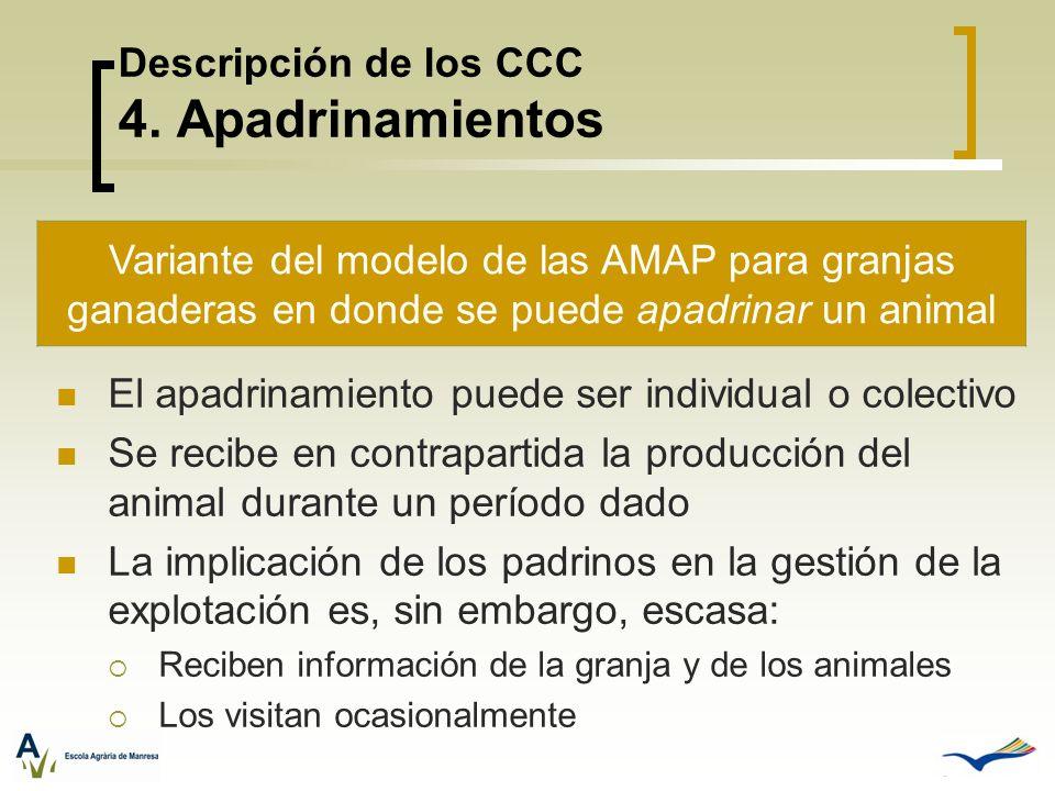Descripción de los CCC 4. Apadrinamientos El apadrinamiento puede ser individual o colectivo Se recibe en contrapartida la producción del animal duran