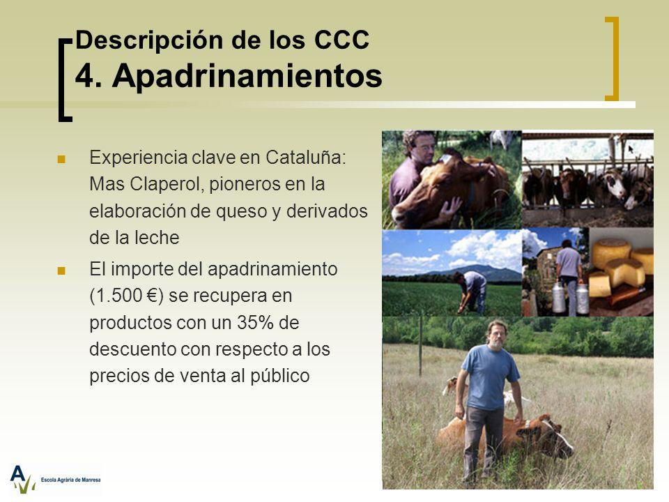 Descripción de los CCC 4. Apadrinamientos Experiencia clave en Cataluña: Mas Claperol, pioneros en la elaboración de queso y derivados de la leche El