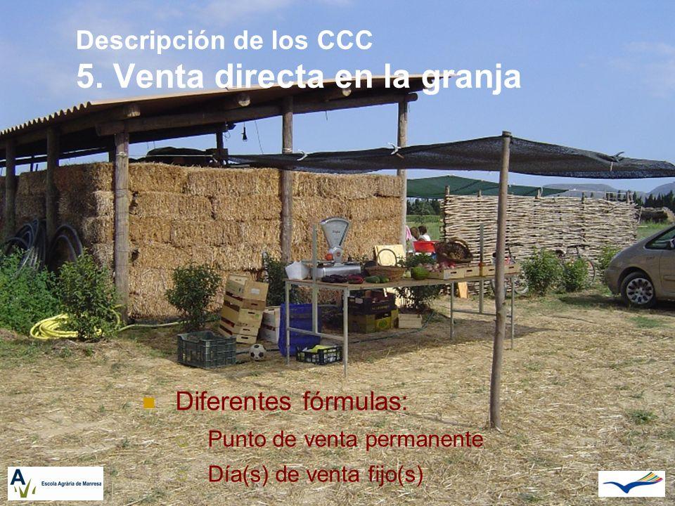 Descripción de los CCC 5. Venta directa en la granja Diferentes fórmulas: Punto de venta permanente Día(s) de venta fijo(s)