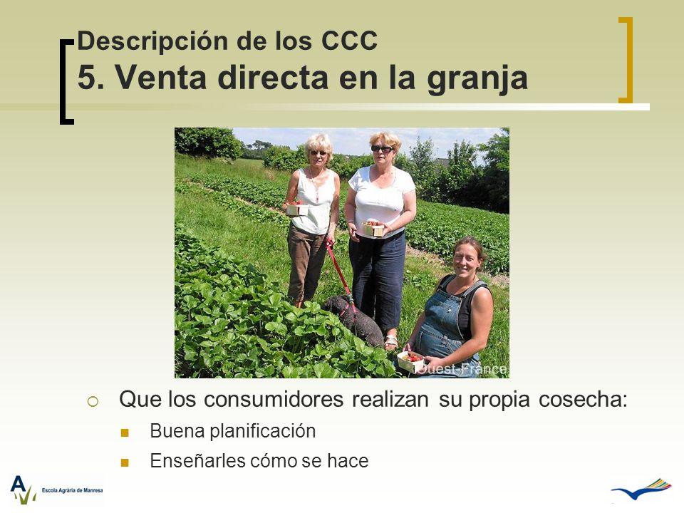 Descripción de los CCC 5. Venta directa en la granja Que los consumidores realizan su propia cosecha: Buena planificación Enseñarles cómo se hace