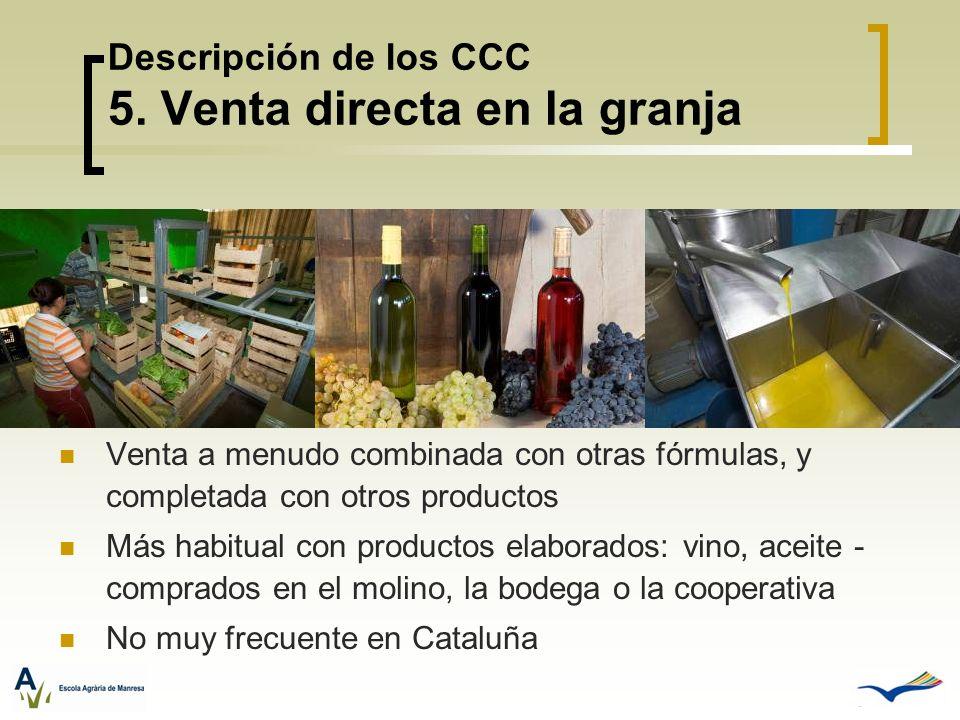 Descripción de los CCC 5. Venta directa en la granja Venta a menudo combinada con otras fórmulas, y completada con otros productos Más habitual con pr
