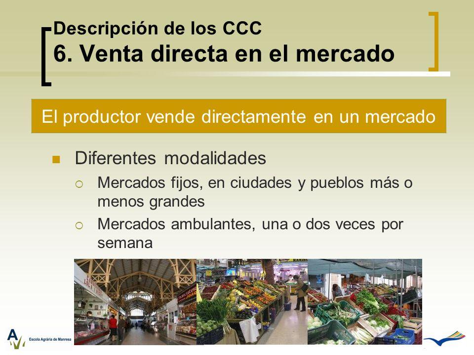 Descripción de los CCC 6. Venta directa en el mercado Diferentes modalidades Mercados fijos, en ciudades y pueblos más o menos grandes Mercados ambula