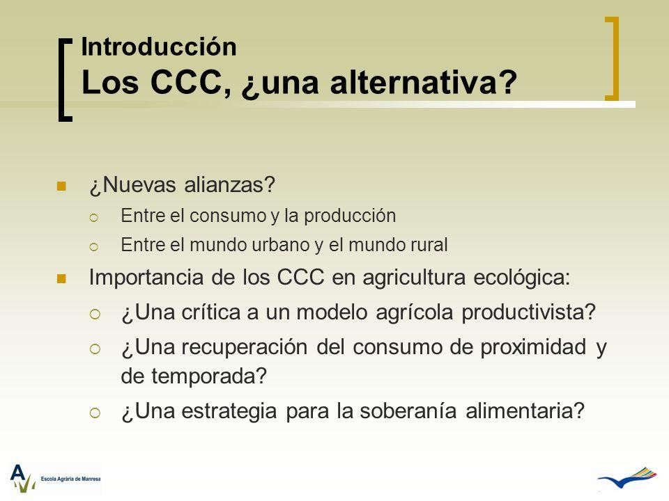 Introducción Los CCC, ¿una alternativa? ¿Nuevas alianzas? Entre el consumo y la producción Entre el mundo urbano y el mundo rural Importancia de los C