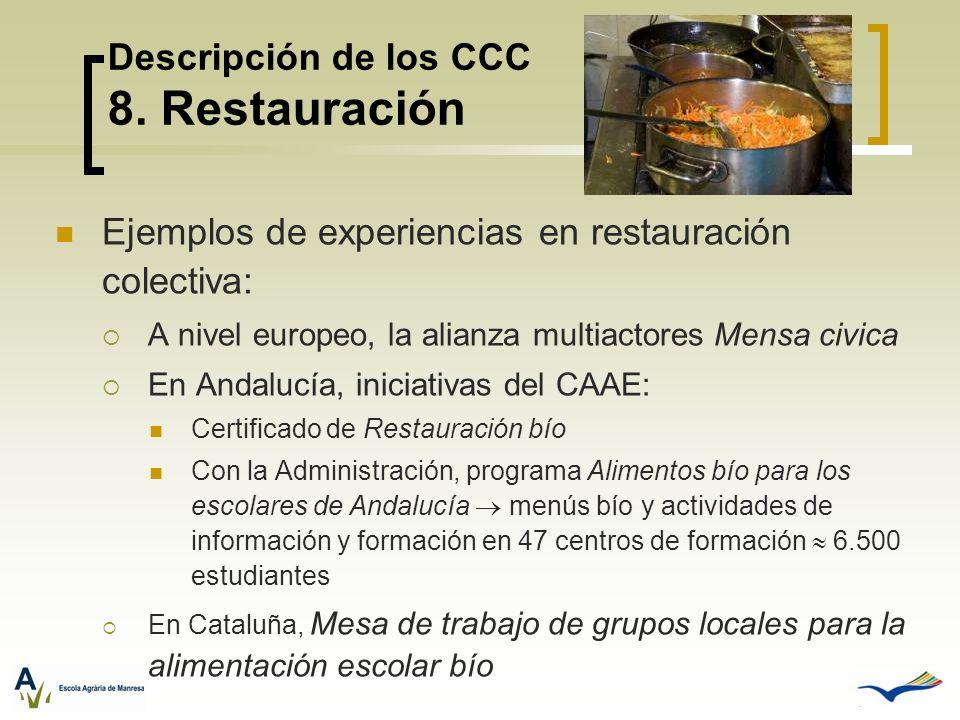 Descripción de los CCC 8. Restauración Ejemplos de experiencias en restauración colectiva: A nivel europeo, la alianza multiactores Mensa civica En An