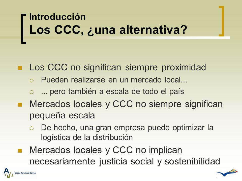 Los CCC no significan siempre proximidad Pueden realizarse en un mercado local...... pero también a escala de todo el país Mercados locales y CCC no s