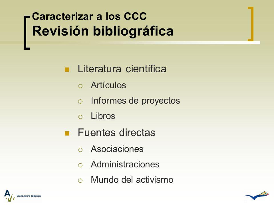 Caracterizar a los CCC Revisión bibliográfica Literatura científica Artículos Informes de proyectos Libros Fuentes directas Asociaciones Administracio