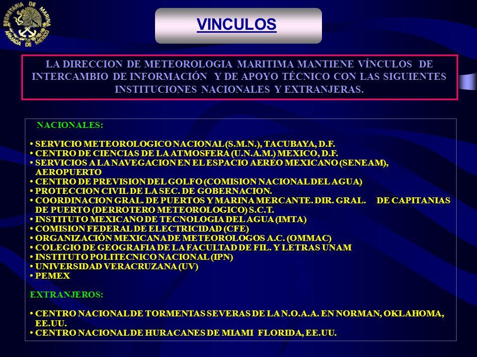 . LA DIRECCION DE METEOROLOGIA MARITIMA MANTIENE VÍNCULOS DE INTERCAMBIO DE INFORMACIÓN Y DE APOYO TÉCNICO CON LAS SIGUIENTES INSTITUCIONES NACIONALES