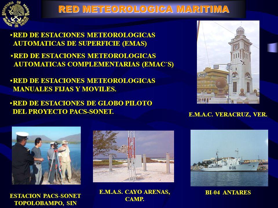 E.M.A.C. VERACRUZ, VER. ESTACION PACS-SONET TOPOLOBAMPO, SIN E.M.A.S. CAYO ARENAS, CAMP. BI-04 ANTARES RED DE ESTACIONES METEOROLOGICAS AUTOMATICAS DE