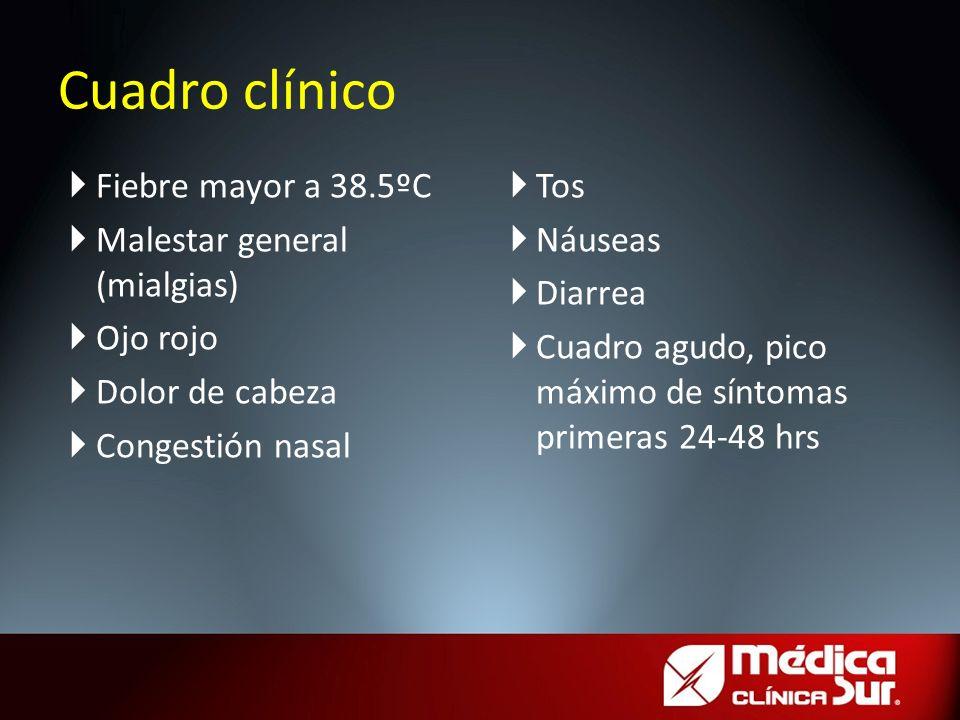 Cuadro clínico Fiebre mayor a 38.5ºC Malestar general (mialgias) Ojo rojo Dolor de cabeza Congestión nasal Tos Náuseas Diarrea Cuadro agudo, pico máxi