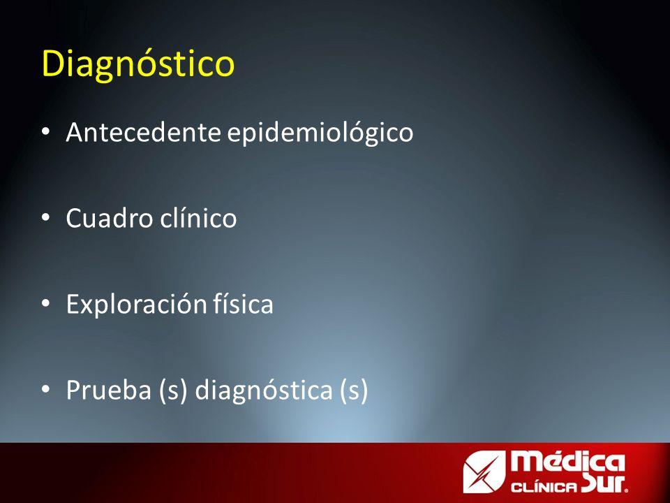 Antecedente epidemiológico Cuadro clínico Exploración física Prueba (s) diagnóstica (s) Diagnóstico