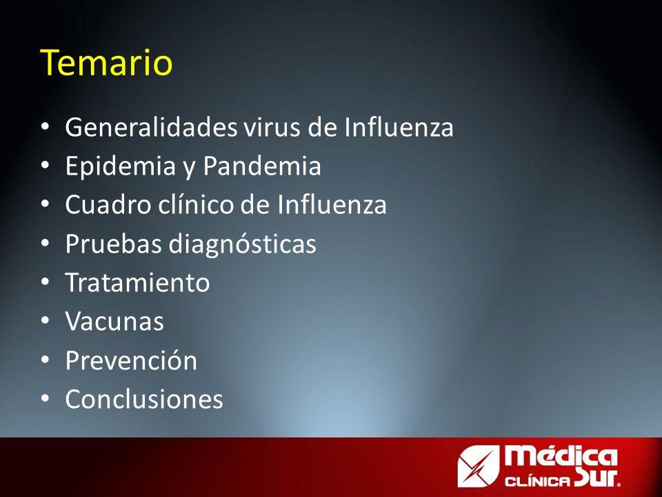 Generalidades virus de Influenza Epidemia y Pandemia Cuadro clínico de Influenza Pruebas diagnósticas Tratamiento Vacunas Prevención Conclusiones Tema