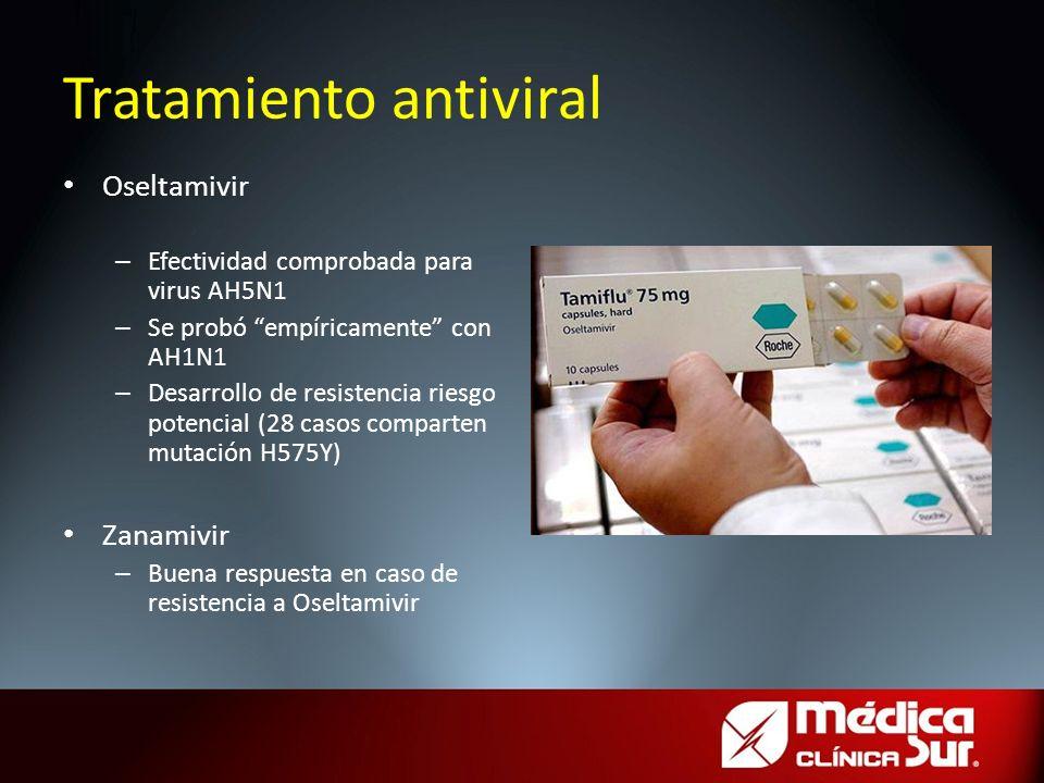 Tratamiento antiviral Oseltamivir – Efectividad comprobada para virus AH5N1 – Se probó empíricamente con AH1N1 – Desarrollo de resistencia riesgo pote