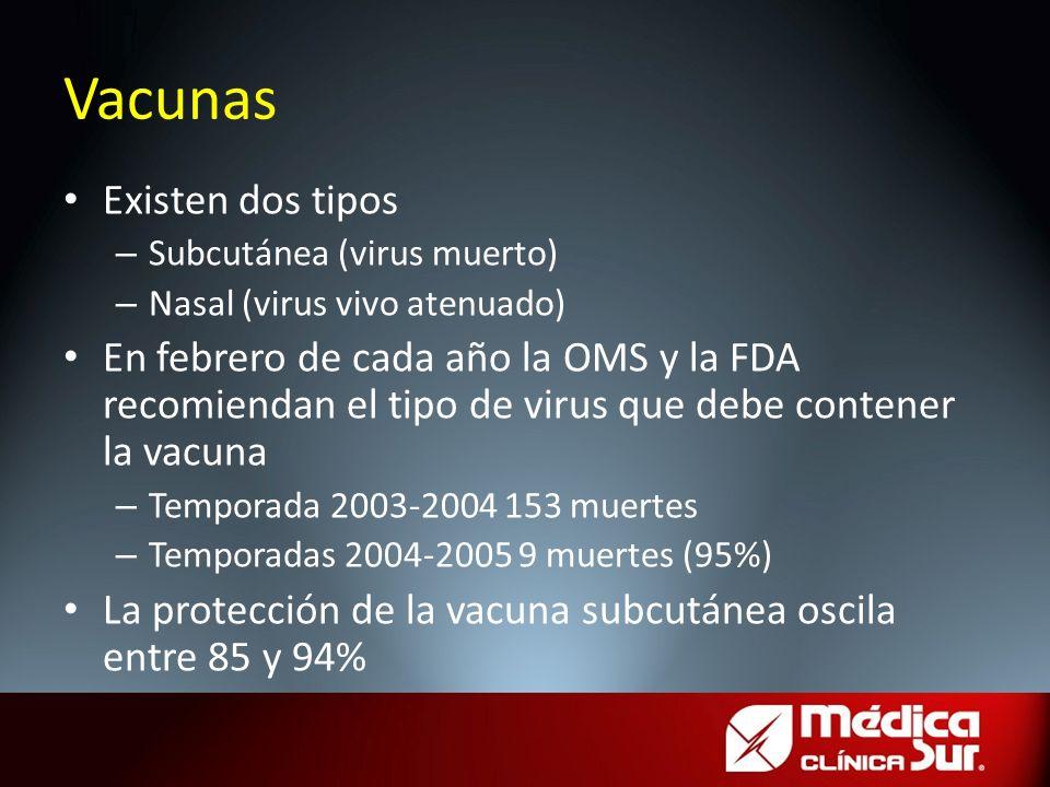 Existen dos tipos – Subcutánea (virus muerto) – Nasal (virus vivo atenuado) En febrero de cada año la OMS y la FDA recomiendan el tipo de virus que de