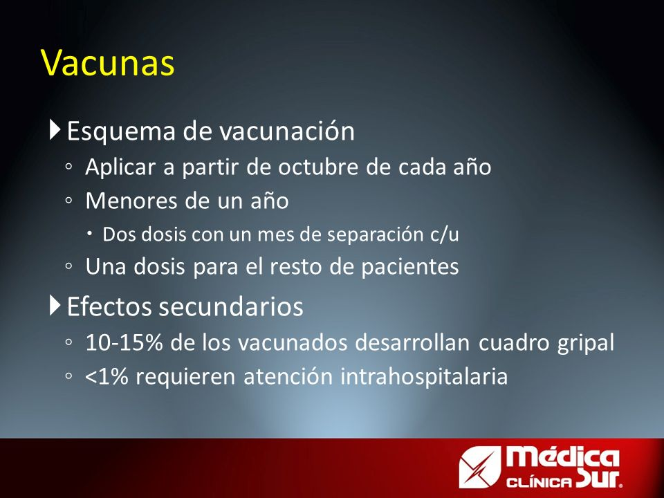 Esquema de vacunación Aplicar a partir de octubre de cada año Menores de un año Dos dosis con un mes de separación c/u Una dosis para el resto de paci