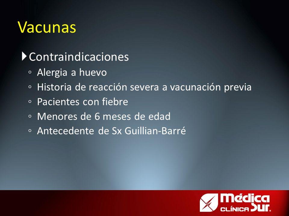 Contraindicaciones Alergia a huevo Historia de reacción severa a vacunación previa Pacientes con fiebre Menores de 6 meses de edad Antecedente de Sx G