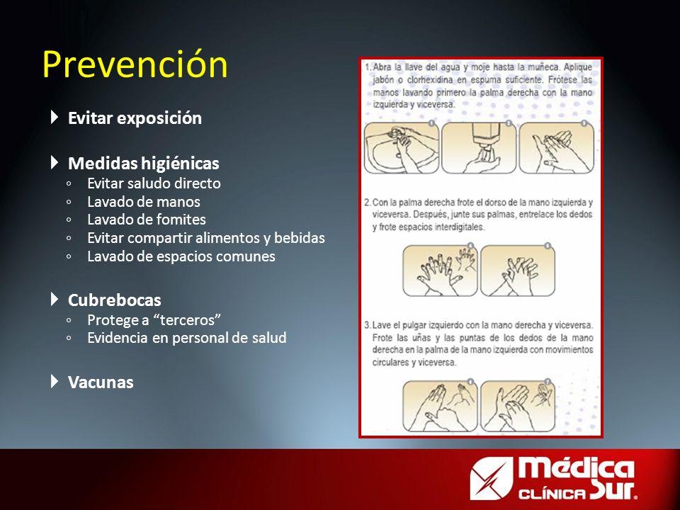 Prevención Evitar exposición Medidas higiénicas Evitar saludo directo Lavado de manos Lavado de fomites Evitar compartir alimentos y bebidas Lavado de