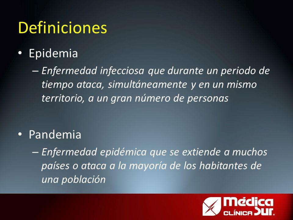 Epidemia – Enfermedad infecciosa que durante un periodo de tiempo ataca, simultáneamente y en un mismo territorio, a un gran número de personas Pandem