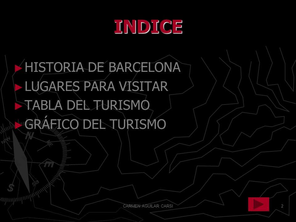 2 INDICE HISTORIA DE BARCELONA LUGARES PARA VISITAR TABLA DEL TURISMO GRÁFICO DEL TURISMO