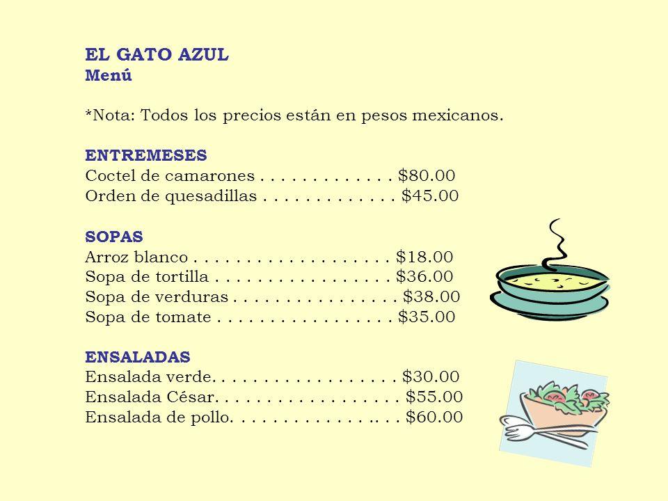 SOPAS Arroz blanco...................$18.00 Sopa de tortilla.................