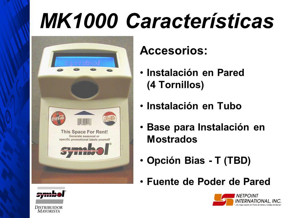 Accesorios: Instalación en Pared (4 Tornillos) Instalación en Tubo Base para Instalación en Mostrados Opción Bias - T (TBD) Fuente de Poder de Pared M