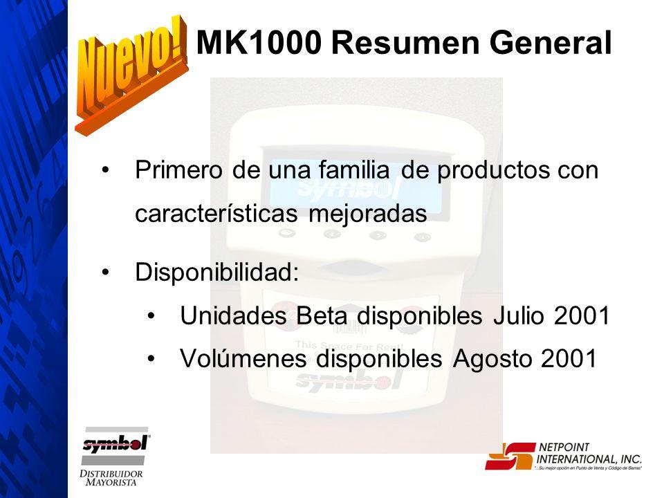 Primero de una familia de productos con características mejoradas Disponibilidad: Unidades Beta disponibles Julio 2001 Volúmenes disponibles Agosto 20
