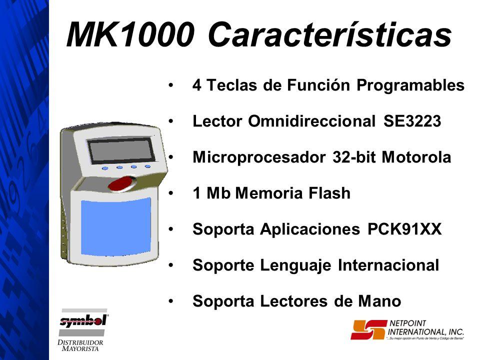 4 Teclas de Función Programables Lector Omnidireccional SE3223 Microprocesador 32-bit Motorola 1 Mb Memoria Flash Soporta Aplicaciones PCK91XX Soporte