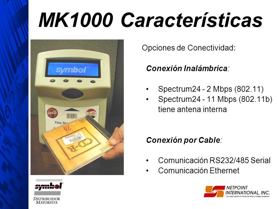 Opciones de Conectividad : Conexión Inalámbrica: Spectrum24 - 2 Mbps (802.11) Spectrum24 - 11 Mbps (802.11b) tiene antena interna Conexión por Cable: