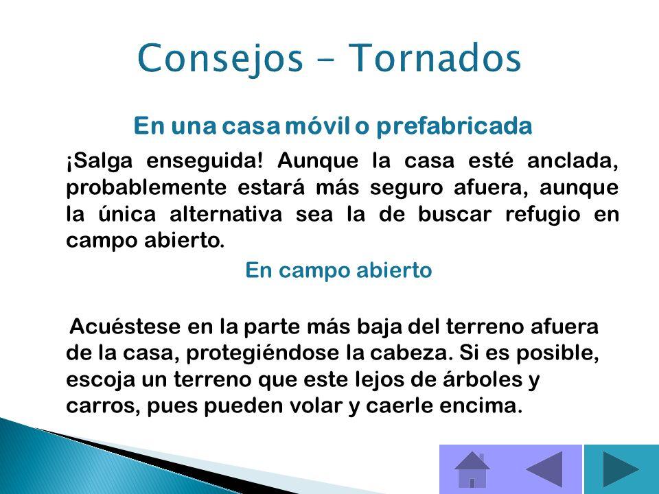 Algunos consejos sobre qué hacer si ocurre un tornado y usted se encuentra en una casa sin sótano, o un apartamento Evite las ventanas. Vaya al piso m