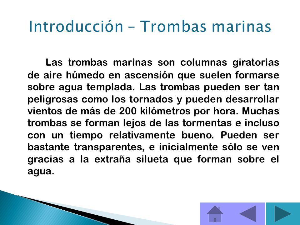 Una tromba marina, es una clase de tornado que se da sobre el agua.
