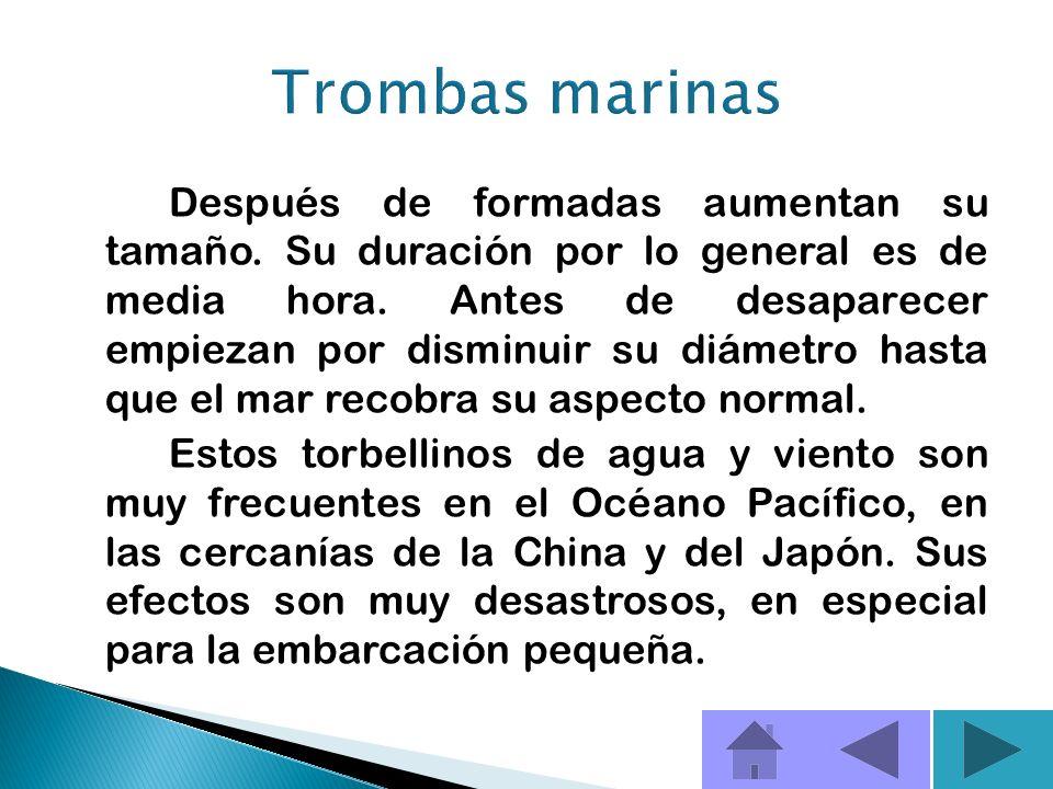 Las trombas marinas son columnas giratorias de aire húmedo en ascensión que suelen formarse sobre agua templada. Las trombas pueden ser tan peligrosas