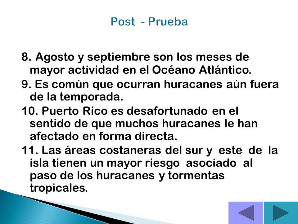 5. Huracán es un ciclón tropical de intensidad máxima en el cual los vientos máximos sostenidos alcanzan o superan las 74 mph. 6.Un huracán de categor